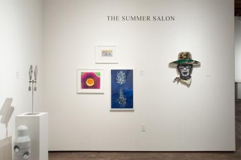 Installation photograph of The Summer Salon, 2020, Will Simons, Ken Bortolazzo, Harvey Leepa, Werner Drewes, Nathan Huff, Inga Guzyte