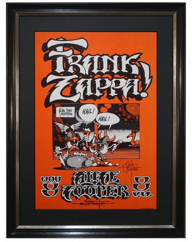AOR 4.124 1968 Frank Zappa poster with Alice Cooper  as an opening act, October 8, 1968 by Rick Griffin called Hail Hail