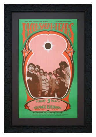 Blood Sweat & Tears Poster from 1968, Grande Ballroom in Detroit by Gary Grimshaw poster March 3, 1968 with the Psychedelic Stooges