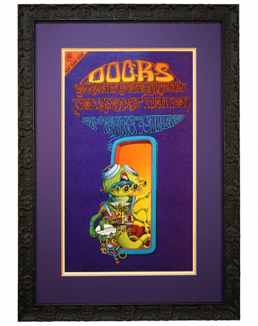 FDD-18 this is a 1967 Doors poster from Denver and created by Rick Griffin. It is called Pay Attention and features a cartoon alien holding a white pill