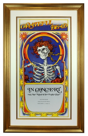 1971 Tour Blank for Grateful Dead by Stanley Kelley and Alton Kelley. Skeleton & Roses motif also know as skull and roses. This show was at the East Town theatre (Eastown) in Detroit