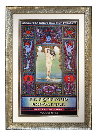 Original 1969 David Byrd Woodstock Aquarian Exposition Poster with neo-classical Ingres' La Source painting