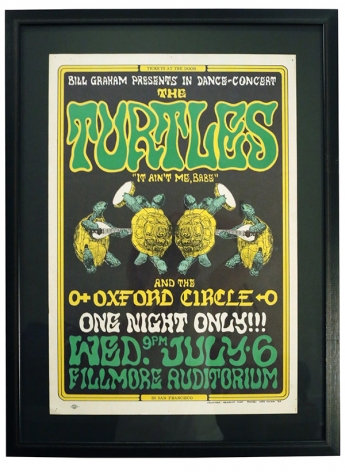 BG-15  Early Wes Wilson Fillmore poster for The Turtles and Oxford Circle in 1966. Picture is of 4 dancing terrapins by German Illustrator Heinrich Kley