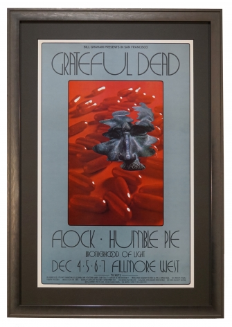 BG-205  Grateful Dead poster same day as Altamont, December 6, 1969. Concert poster by David Singer also with Humble Pie and Flock