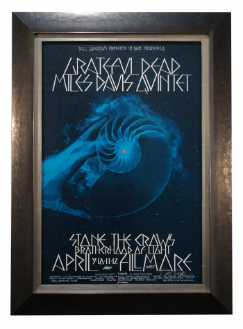 BG-179  Grateful Dead and Miles Davis poster 1971 by David Singer. Concert poster from Fillmore West, May 6-9, 1971