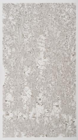 Estudio de fluidos, 2018. Cut out paper. 37 3/8 x 23 3/8 x 1 3/4 in. (94.9 x 59.4 x 4.4 cm.)