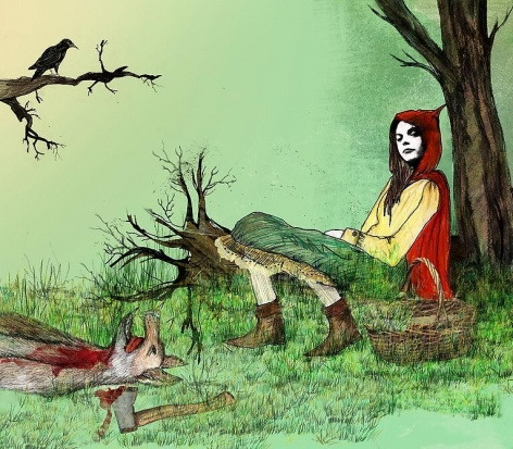 María Isabel Arango, Little Red Riding Hood, 2005, Drawing and digital collage, 50 cm x 44 cm