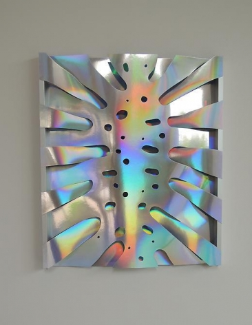 Thomas Glassford, Untitled, 2014. Holographic paper and anodized aluminum, 21 1/2 in. x 18 1/2 in. x 1 in.