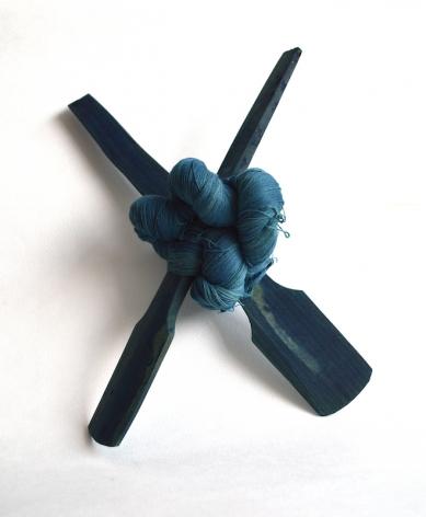 Sandra Monterroso, Efectos Cruzados 11, 2020. Yarn dyed with indigófera guatemalensis, and wood, 11 13/16 x 11 3/8 x 7 1/16 in.