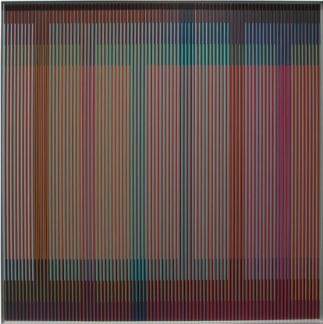 Carlos Cruz-Diez, Physichromie 1772, 2012. Chromography on aluminum, PVC inserts, 39 11/32 x 39 11/32 in.