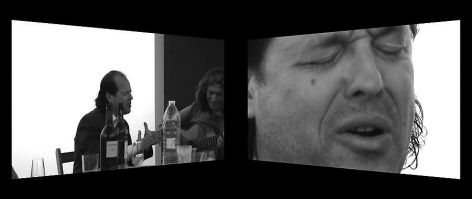 Dias & Riedweg, Cuarto de Cabales, two channel video installation, 2010, 20 minutes