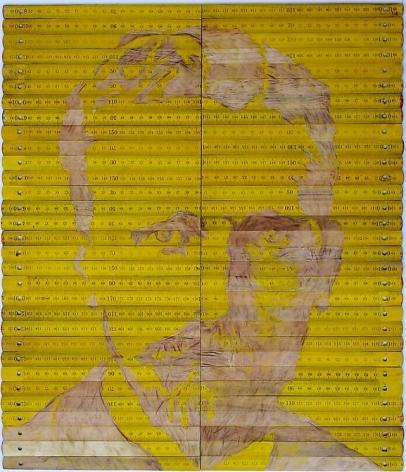"Pedro Tyler, Vincent Van Gogh, 2012, Bas-relief, wooden rulers, 16.9"" x 19.7"""