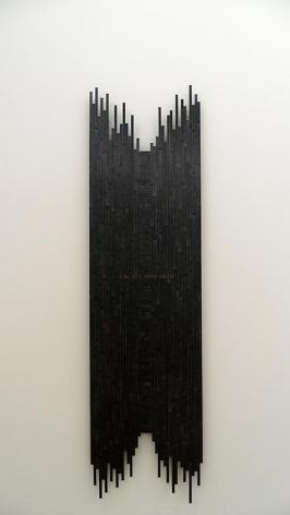 "Pedro Tyler, Edge, 2012, wooden rulers, 96.5"" x 25.6"" x 2.3"""