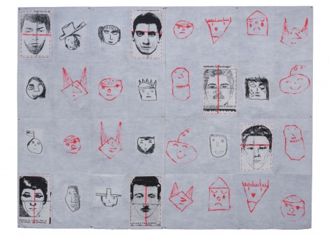 Eugenio Dittborn, The 9th History of the Human Face [Hierba Menuda] Airmail Painting No. 82m, 1990, Paint, charcoal, stitching and photosilkscreen on two sections of non woven fabric, 82 5/8 x 110 3/16 in. (210 x 280 cm.)