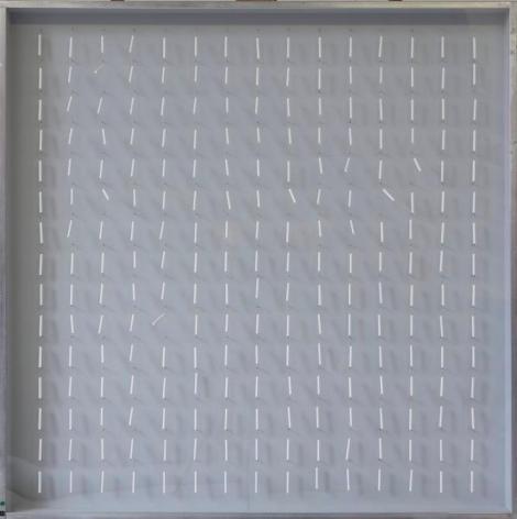 Sérvulo Esmeraldo, Excitable (E7513), 1975. Wooden base, Plexiglas, thread balsa wood, paint, aluminum frame, 39 3/8 x 39 3/8 x 3 in. / 100 x 100 x 7.6 cm.