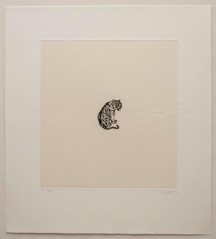 Liliana Porter, Tiger, 2001. Solar etching with scratch, 24 1/2 in. x 22 1/4 in.