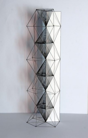 Mariano Dal Verme, Untitled (Tower), 2014. Graphite, paper, 16.75 in. x 4 in. x 4 in.