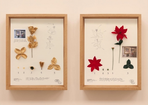 Alberto Baraya, Diptych of the Virgin of the Fake Gun Machine, 2019. Found objects, photographs and pencil on cardboard, 20 1/16 x 15 3/4 x 2 5/16 in.each