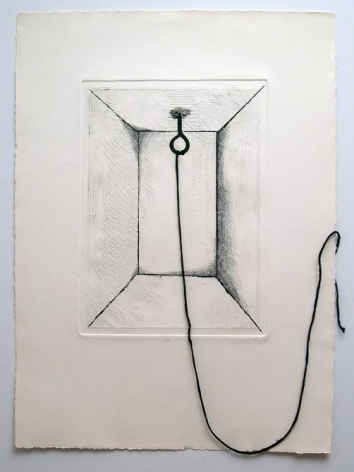 Liliana Porter, Untitled (hook), 1971. Etching with yarn, 17 3/4 in. x 13 in.