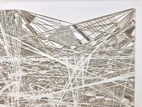 Gustavo Díaz, R/C/01, from the series Las redes prosiguen su camino, el cluster espera en la borrosidad (detail), 2017. Cut out paper, 23 3/8 x 69 x 1 3/4 in.