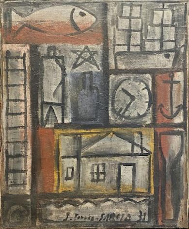 Joaquín Torres-García, Sin título, 1931. Oil on canvas, 18 1/16 x 14 15/16 x 1 13/16 in.