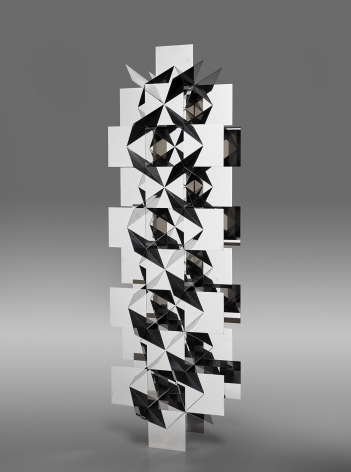 Francisco Sobrino, Structure Permutationnelle. Ed. 6/7, 1963/2014. Mirror-polished stainless steel, 39 3/8 x 13 x 13 in. (100 x 33 x 33 cm.)