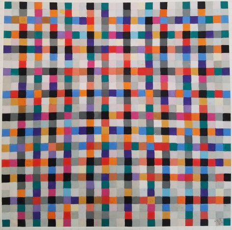 Antonio Asis,Untitled from the series Chromatisme Quadrillé Polychrome, 1964, Gouache on paper,11 3/4 x 8 3/8 in. (29.8 x 21.2 cm.)