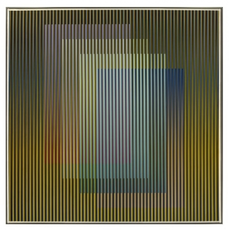Carlos Cruz-Diez, Physichromie Panam 129, 2013. Chromography on aluminum, PVC inserts, 27 9/16 x 27 9/16 in.