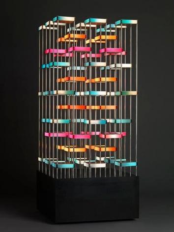 Gregorio Vardanega, Tour Orthogonale, 1987. Aluminum, Plexiglas, motor, 74 x 32 2/8 x 32 2/8 in.