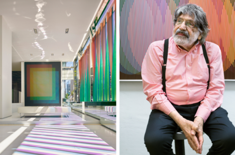 Carlos Cruz-Diez has created a permanent installation in Washington DC, in the lobby of law firm Covington at Foster + Partners' CityCenter (pictured left). Photography: Hendrich Blessing. Right: the artist in front of his work Physichromie Panam No. 176, at his studio in Panama. Photography: Rose Cromwell