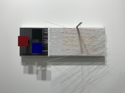 Jesús Rafael Soto, Dos Valores Vibrantes, 1988. Acrylic on wood, nylon, 10 5/8 x 30 11/16 x 8 13/16 in.