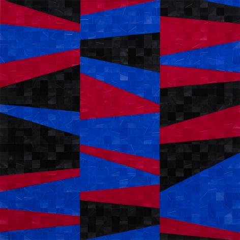 Gabriel de la Mora, 1,205 II, 2020. Pigmented turkey feathers on museum cardboard, 16 7/8 x 16 7/8 x 1 9/16 in. (43 x 43 x 4 cm.)