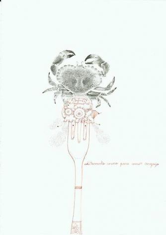Teresa Currea, Aditamento casero para comer cangrejo, 2009, Pencil and ink on paper, 17.5 x 12.5 cm