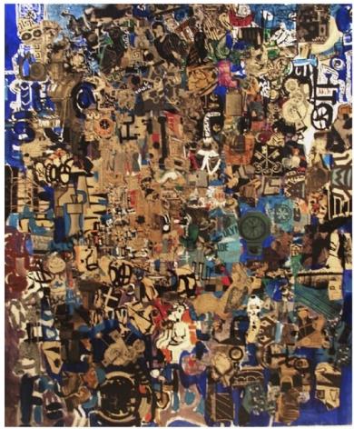 Mercedes Pardo Ponte,El Jardín de las Delicias, 1965, Collage and paint on wood, 43 1/4 x 37 3/8 in. (110 x 95 cm.)