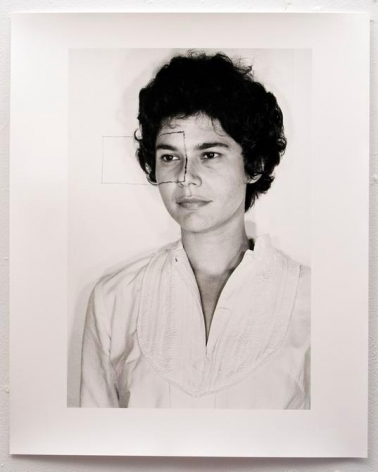 Liliana Porter. Self Portrait with Square II, AP2   (Ed. of 5 + 2 AP), 1973/2014. Modern gelatin silver photograph. 20  x 16 in. (50.8 x 40.6 cm.)