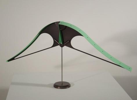 Pedro S. de Movellán, Bicorne (Green 2/3), 2016, Green anodized aluminum, powder coated aluminum, brass, stainless steel