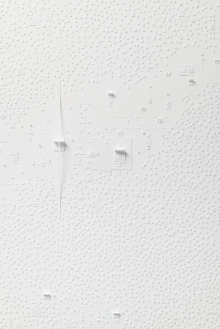 Marco Maggi, No visual distancing (White), detail, 2021. Paper on paper on paper, 36 x 24 in. (91.4 x 61 cm.)