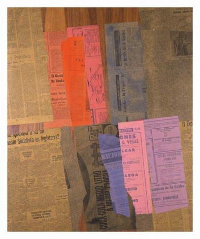 """Alejandro Otero, 8 Meses en coma, from the series """"Papeles coloreados"""" [Colored Papers], 1965. Collage. Dyed newspaper clips on wood, 28 15/16 x 24 in."""