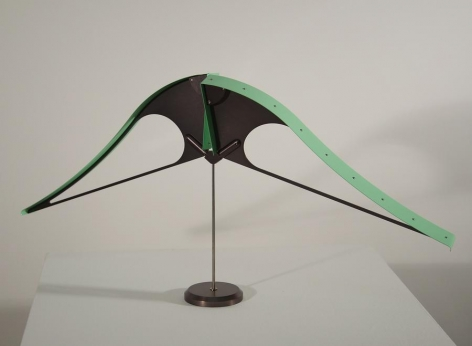 Pedro S. de Movellán, Bicorne (Green 2/3), 2016, Green anodized aluminum, powder coated aluminum, brass, stainless steel