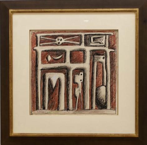 Augusto Torres, Estructura sobre rojo, 1977. Ink and tempera on paper, 15 x 16 in. / 38 x 40.6 cm.
