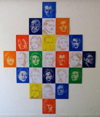 Pedro Tyler. Endless Prism (25 portraits), 2013. Bas Relief, wooden rulers. 84 1/4 x 68 3/4 in. (214 x 174.6 cm.)