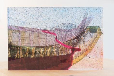 Anna Elise Johnson, Wall Bridge, 2015. Acrylic, resin, archival digital prints, spray paint, India Ink, 14 in. x 21 in. x 4 in.