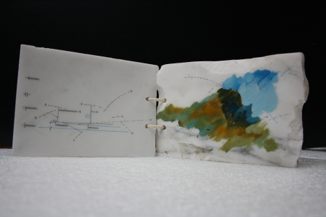 Marie Orensanz. nature energie force, 1989. Drawing and paint on marble, 4 11/16 x 6 7/8 x 1 15/16 in. (12 x 17.5 x 5 cm.)