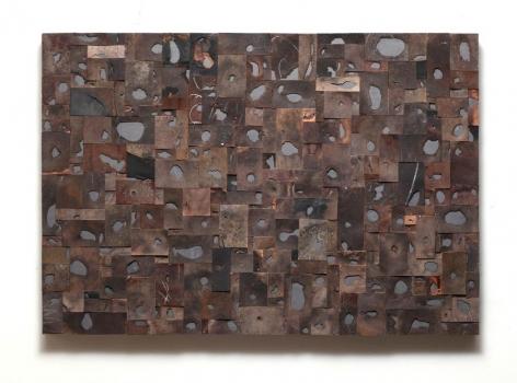 Gabriel de la Mora, 215, from the series El Peso Del Pensamiento, 2013. Discarded shoe soles mounted on lead, 23 1/4 x 33 3/16 x 1 7/8 in.  / 58.7 x 84.3 x 4.7 cm.
