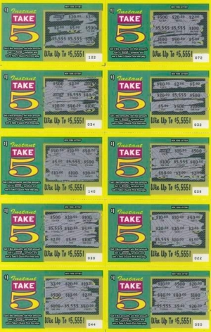 Lorenzo Bueno, Spent $17, Won $21, Lost $3 from the series Take Five, 2014. Mixed media, 12 1/2 in. x 8 in.