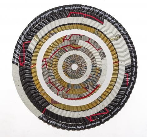 Miguel AngelRíos,Los Cuatro Vientos, 1993-1994.Pencil, Cibachrome mounted on pleated canvas and push pins, 74 3/4 in. diameter (190 cm. diameter)