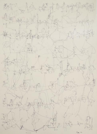 León Ferrari, Musica, 1962. Drawing, ink on paper, 26 x 18 7/8 in. / 66 x 48 cm.