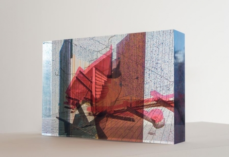 Anna Elise Johnson, Tilted Arc, 2015. Acrylic, resin, archival digital prints, spray paint, India Ink, 14 in. x 21 in. x 4 in.