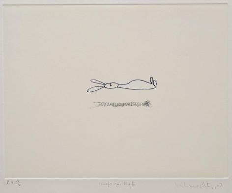 Liliana Porter, Conejo que levita, 2007. Hand colored etching, 15 1/4 in. x 22 1/4 in.