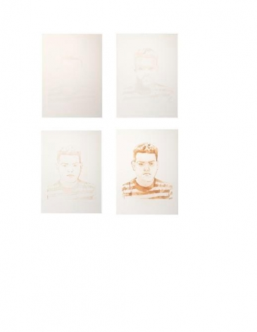 Mariano Dal Verme. Portrait of Juan Perez (Series of 4), 2013. Lemon juice on paper. 9 3/4 x 13 1/2 in. (24.8 x 34.3 cm.) each